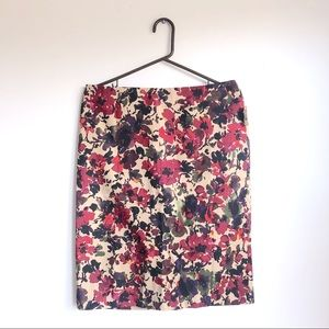 Talbots Cotton Floral Red + Tan Pencil Skirt 10